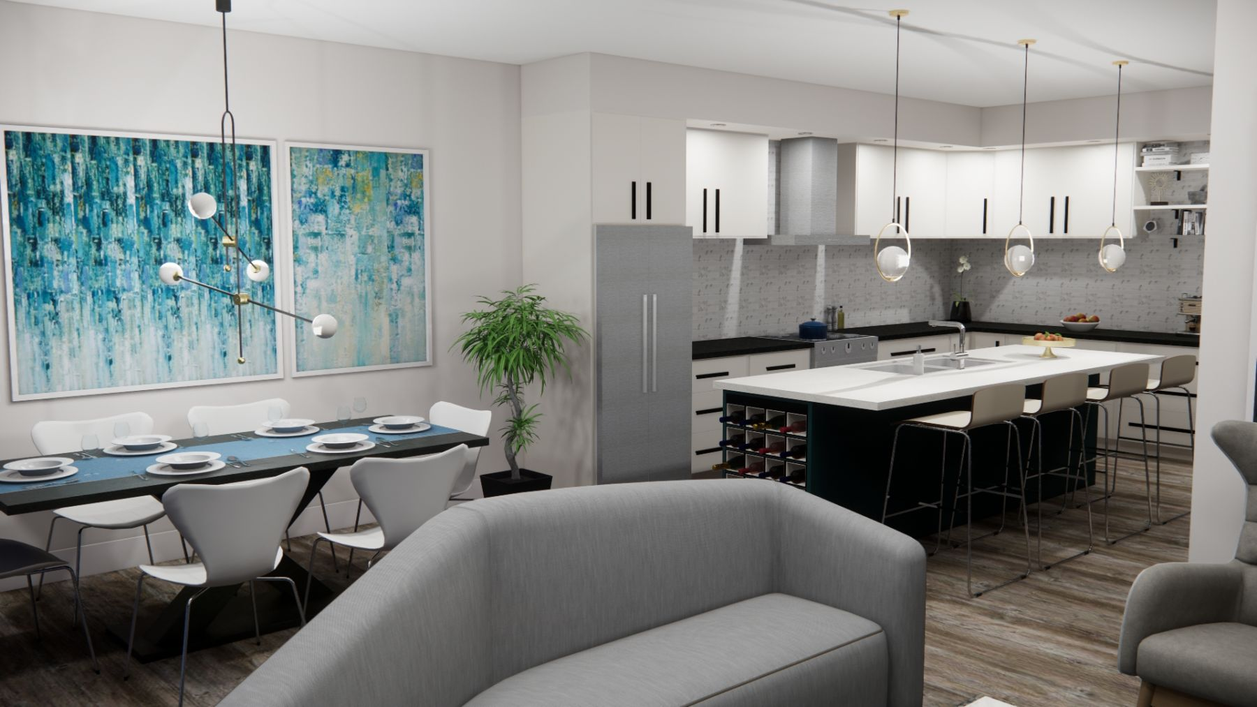 Perspective-of-Kitchen-and-Dining